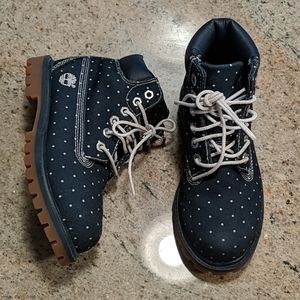 LIKE NEW Pin Dot Polka Dot Denim Timberlands 12